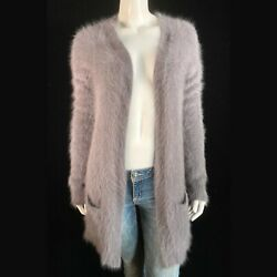 Fuzzy 80 Angora Theory Gray Open-front Duster Cardigan Sweater 32-bust