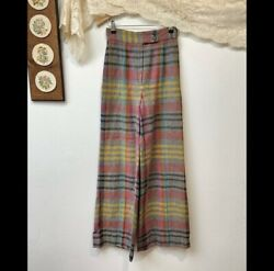 Peerless of Boston Vintage Plaid Wide Leg Trousers High Waisted Women Size 6