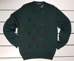 New Conte Of Florence Menand039s Sweater Green Pullover V-neck Argyle / Diamond