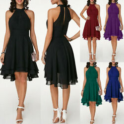 Womens Halterneck Sleeveless Mini Dress Cocktail Evening Party Formal Prom Gown $23.27