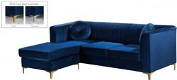 Contemporary Navy Velvet 2pc Sectional Living Room Furniture Channel Tufted Back