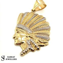 Native American Indian Chief Head Aztec Pendant 585 14k 14ct Yellow Gold New