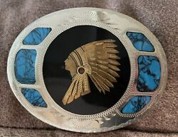 Vtg Johnson Held Indian Chief Abalone Turquoise Inlay Western Belt Buckle
