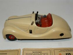 Vintage Schuco Examico 4001 Tin Wind-up Car Made In Germany + Key And Instructions