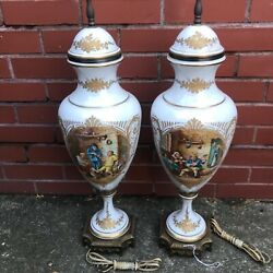 Antique French Porcelain Sevres Bronze Mounted Covered Urns Converted To Lamps