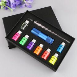 Invisible Fluorescence Glass Dip Pen Set Glowing Ink Fountain Calligraphy Box