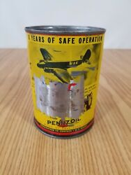 Vintage Rare Pennzoil Owl Airplane Motor Oil Can Quart Graphics