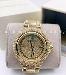Mk5720 Camille Crystal Pave Gold Tone Ladies Wrist Watch Usshipping