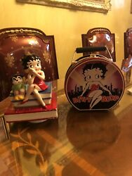 Betty Boop And Bimbo Porcelain Music Box Motion Singing On Top Of Books/launch Box