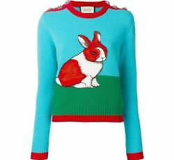 🆕️ Auth Embroidered Bunny Rabbit Intarsia Wool Knit Sweater Pullover Xs