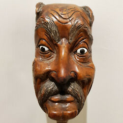 Antique Japanese Carved Wood Noh Theatre Puppet Head Glass Eyes Decorative