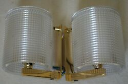 Pair Of Brass And Crystal Wall Lamps By Carl Fagerlund 1960 For Orrefors