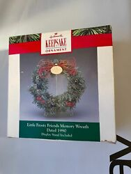 Hallmark 1990 Little Frosty Friends Memory Wreath Ornament With Stand
