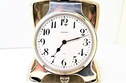 Antique Sterling Silver Majestic Watch Co 15 Jewels 8 Days Travel Clock