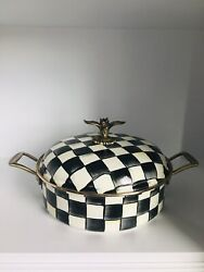 Mackenzie Childs Courtly Check Enamel 5qt Casserole New