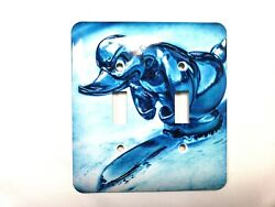 Duck Hood Ornament Vintage Double Toggle Switch Light Switch Cover Blue