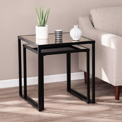 2pc Laneth Nesting End Tables Antique Mirrored/black - Aiden Lane