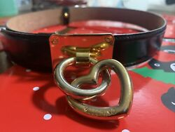 Vintage Moschino Black Leather Belt with Gold Heart Charm Size 38 $103.00