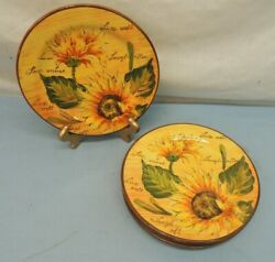 Lot Of 4 Salad Plates 8 Sunflowers With Writing Hand Painted Maxcera