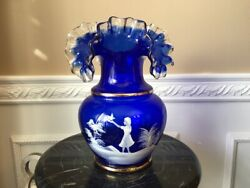 Fenton Mary Gregory Cobalt Blue With Hand Panted Little Girl 10 Vase
