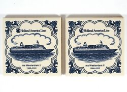 Two Holland America Line Westerdam Ii Tile Coasters Ceramic With Cork Backing