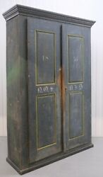 1850and039s Cupboard Cabinet Original Blue Distress Painted With Stacking Shelfs