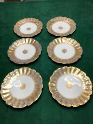 Lot Of 6 Antique L S And S Limoges, France Green And Gold Gilt Plates 8.5
