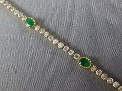Long 1.97ct Diamond And Aaa Emerald 18kt 2 Tone Gold Oval And Round Tennis Bracelet