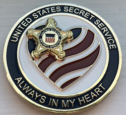 """Us Secret Service Challenge Coin """"always In My Heart"""" Coin Rare"""