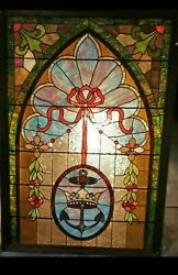 Vintage Stained Glass Window 40 X 64 - Framed