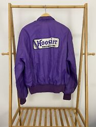 Vtg 80s Hoosier Racing Tire Big Patch Team Issued Cafe Racer Jacket Size Xl