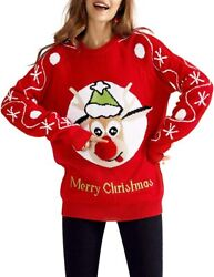 Qualfort Womens Ugly Christmas Sweater Cute Xmas Sweaters