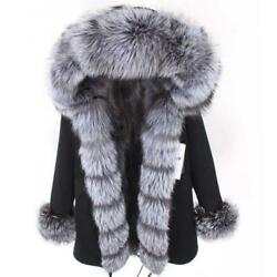 Womenand039s Big Silver Fox Fur Collar Hooded Parka Removable Real Fur Lined Jacket L