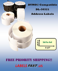 30321 Dymo® Duo Compatible 400 450 Twin Turbo Address Labels Large White Rolls