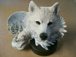 Rick Cain Limited Edition Arctic Son 1597/2000 Carved Arctic Wolf Free Shipin