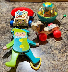 Fisher Price Vintage Toys 165 Chime Ball 693 Snoopy 145 Jumping Jack And Phone