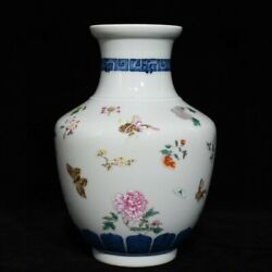 8.8and039and039 China Antique Vase Five-colored Porcelain Vase Pottery Bottle Hxcc