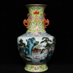 15and039and039 China Antique Vase Five-colored Porcelain Vase Pottery Bottle Hxcc
