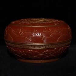 6and039and039 China Antique Box Red Glaze Porcelain Box Pottery Seal Box Hxcc