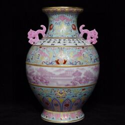 11.2and039and039 China Antique Vase Five-colored Porcelain Vase Pottery Bottle Hxcc