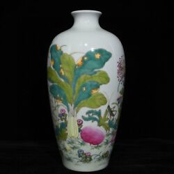 11.1and039and039 China Antique Vase Five-colored Porcelain Vase Pottery Bottle Hxcc