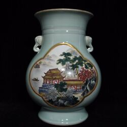 15.8and039and039 China Antique Vase Five-colored Porcelain Vase Pottery Bottle Hxcc