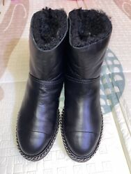 Authentic Shearling Leather Black Cc Logo Ankle Boots 37