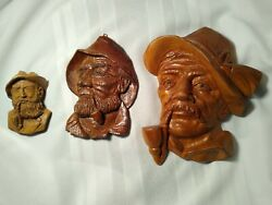 Vintage French Sic Wooden Hand Carving Lot Of 3 Man Smoking Pipe Rustic Decor