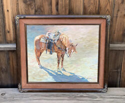 Marjorie Rodgers Original Oil Painting Horse Western Rode Andldquoend Of The Roundupandrdquo