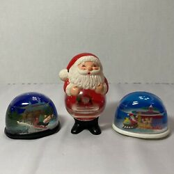 Vintage Christmas Snow Globes-action, Jolly And Sleighing Santa's, Set Of 3