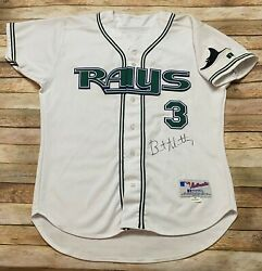 Game Worn Tampa Bay Rays Jersey Brent Abernathy Vtg 2002 Russell Athletic Mlb 46