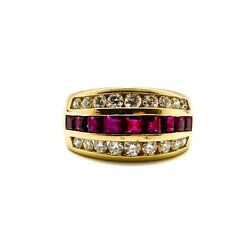 Vintage Ruby And Diamond Ring In 14kt Yellow Gold