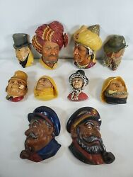 Lot Of 8 Vintage 1960's Bossons Chalkware Heads Made In England + 2 Captains.