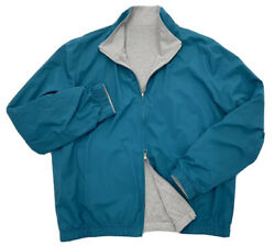 Loro Piana Turquoise Reversible Cashmere Bomber Windmate Size Xxxl Made In Italy